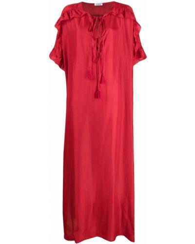 Шелковое красное платье с вырезом P.a.r.o.s.h.