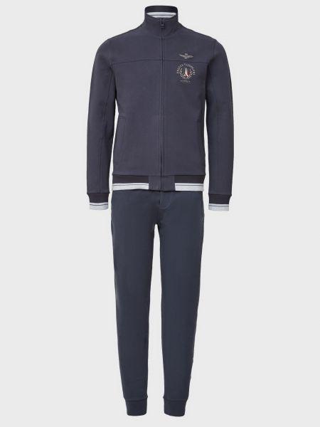 Хлопковый синий спортивный костюм на молнии Aeronautica Militare