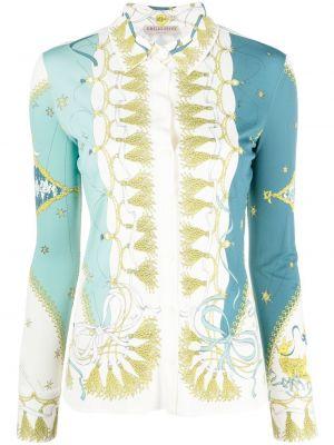 Синяя рубашка из вискозы Emilio Pucci