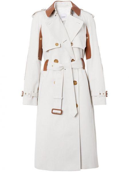 Biały długi płaszcz bawełniany z długimi rękawami Burberry