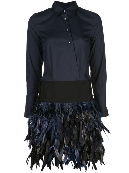 С заниженной талией темно-синее платье макси с воротником Sara Roka