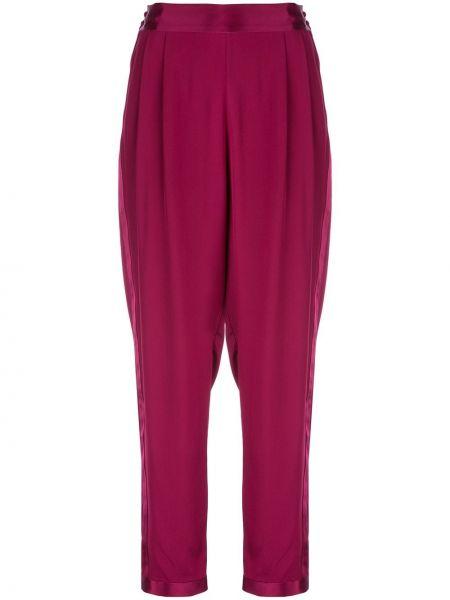 Czerwone spodnie z wysokim stanem z jedwabiu Fleur Du Mal