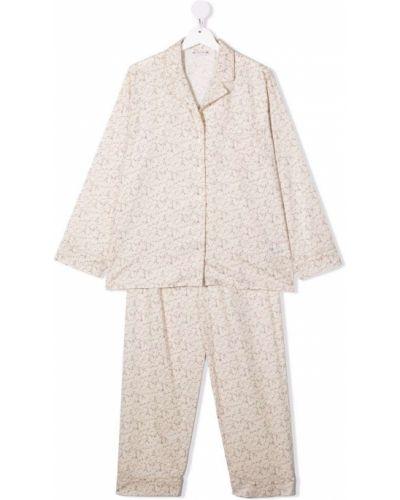 Beżowa piżama z printem Bonpoint