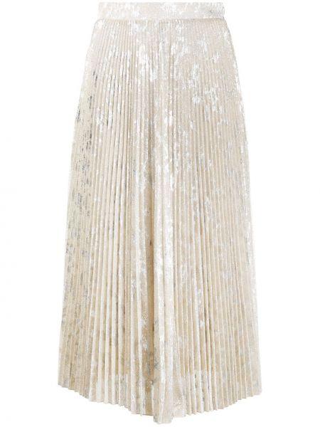 Золотистая шелковая желтая плиссированная юбка на молнии Blumarine