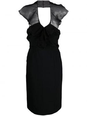 Jedwab wyposażone czarny sukienka w połowie kolana Christian Dior