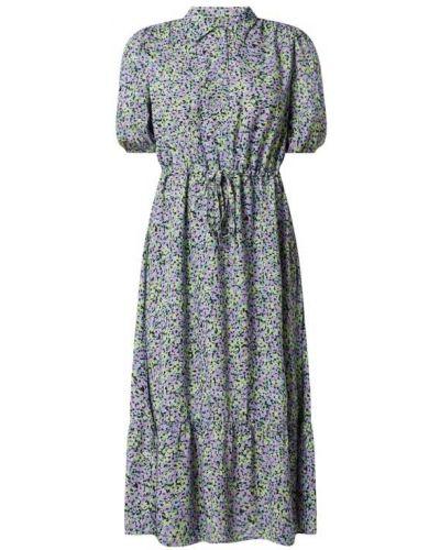 Fioletowa sukienka midi z falbanami z wiskozy Moves