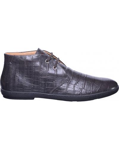 Кожаные ботинки - серые Santoni