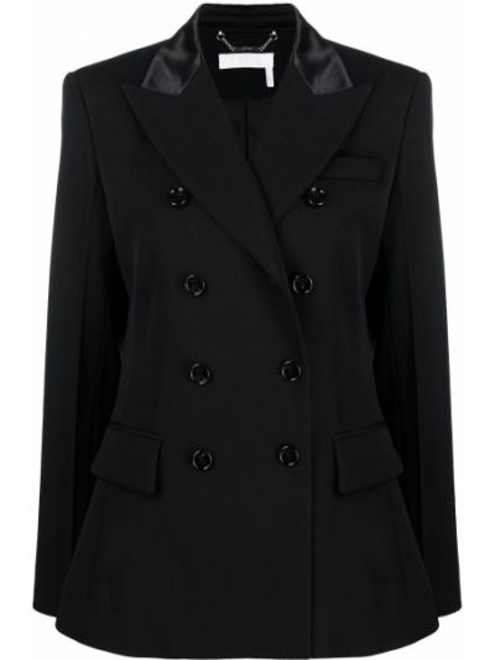 Черный удлиненный пиджак двубортный с карманами Chloé