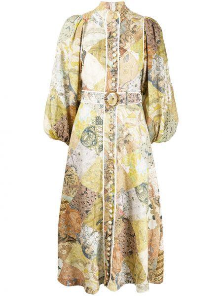 Платье макси на пуговицах с поясом Zimmermann