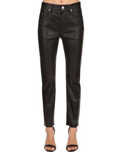 Skórzany czarny jeansy chłopaki z kieszeniami Isabel Marant