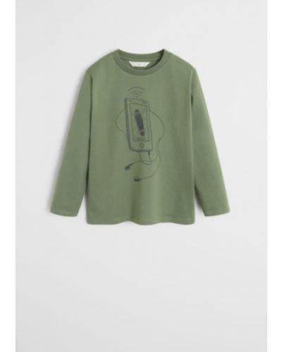 Хлопковая футболка с длинными рукавами хаки Mango