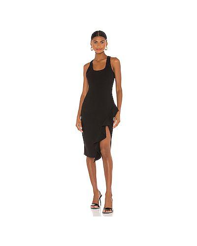 Шелковое черное платье миди с подкладкой Likely