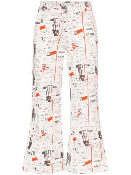 Расклешенные хлопковые белые расклешенные джинсы на пуговицах Miaou