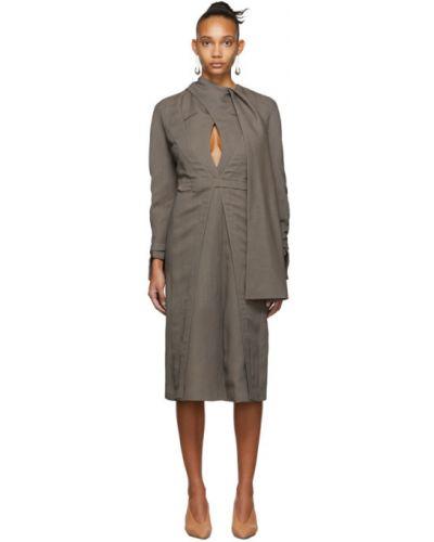 Восточное платье макси двубортное с длинными рукавами с карманами Situationist