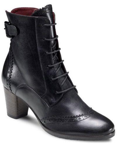 Кожаные ботильоны черные на шнуровке Ecco