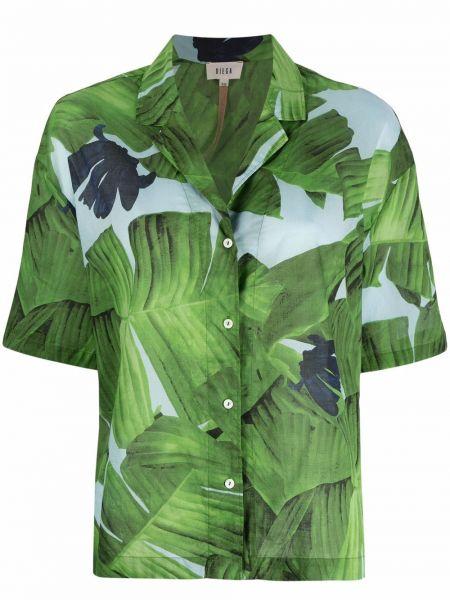 Хлопковая зеленая рубашка с коротким рукавом с принтом Diega