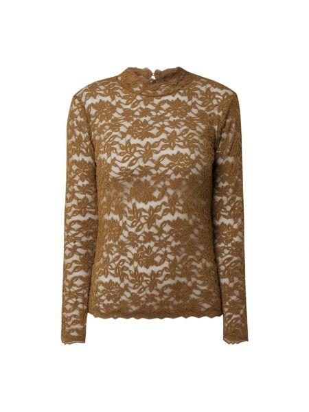 Bawełna ażurowy zielony bluzka z długim rękawem z długimi rękawami Rosemunde