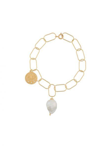 Złota bransoletka ze złota pozłacana perły Hermina Athens