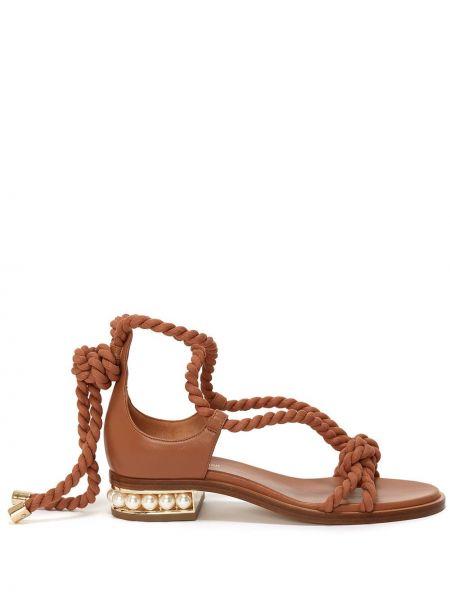 Brązowe sandały skorzane Nicholas Kirkwood