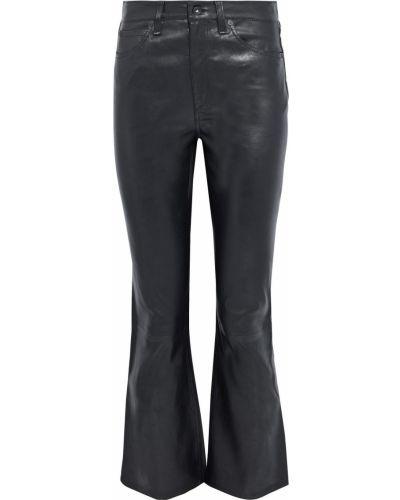 Czarne spodnie z wysokim stanem skorzane Rag & Bone