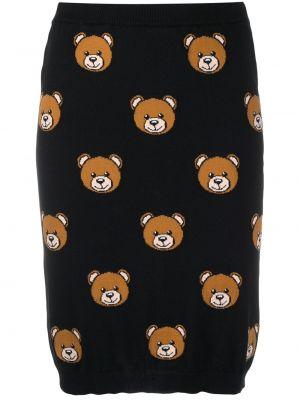 Черная с завышенной талией вязаная юбка Moschino