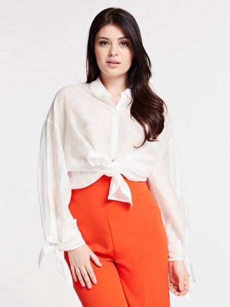 Biała koszula bawełniana z długimi rękawami Guess