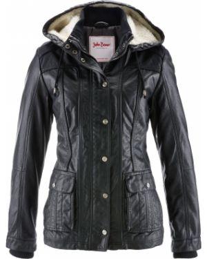Кожаная куртка с капюшоном утепленная Bonprix