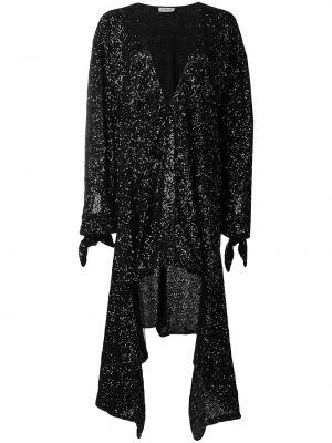 Czarna sukienka mini asymetryczna z długimi rękawami Attico