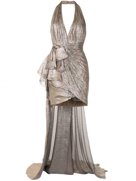 Шелковое платье макси без рукавов с вырезом Zuhair Murad