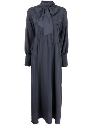 Шелковое с рукавами синее платье макси Kiton