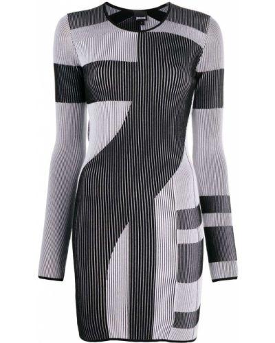 Облегающее черное платье макси в полоску Just Cavalli