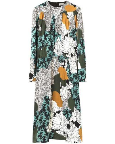 Zielona sukienka midi z długimi rękawami By Malene Birger