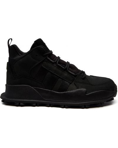 Облегченные кожаные черные высокие кроссовки Adidas