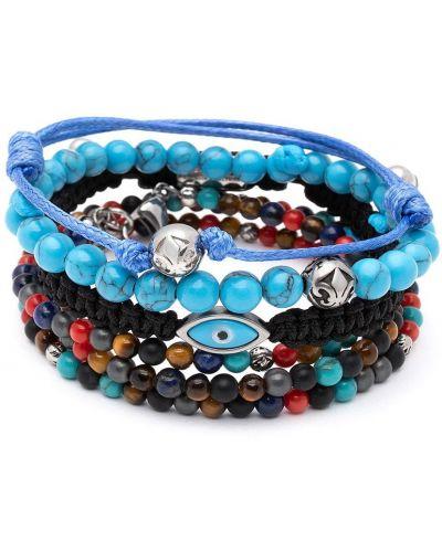 Bransoletka z koralikami srebrna turkusowa Nialaya Jewelry