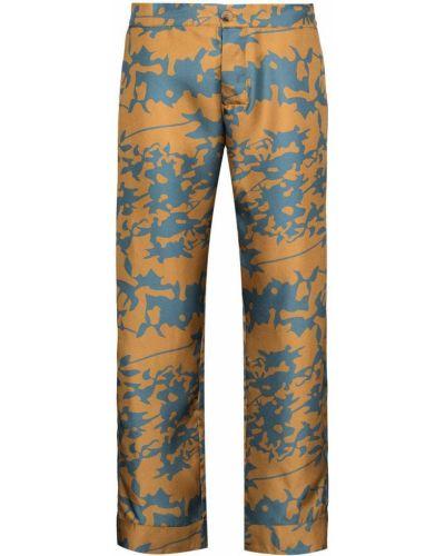 Шелковые коричневые укороченные брюки эластичные Asceno