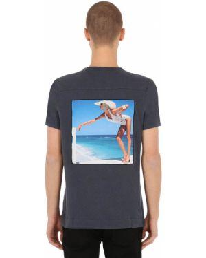 Niebieski t-shirt bawełniany na plażę Limitato