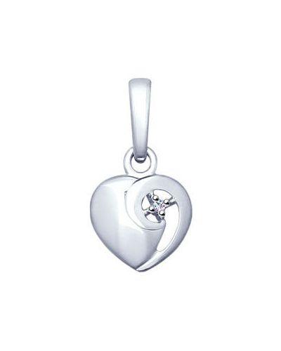 Серебряная подвеска с камнями с бриллиантом Sokolov