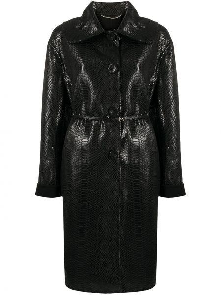 Кожаное черное длинное пальто на пуговицах Ermanno Scervino