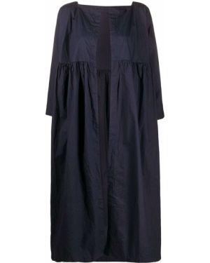 Свободное синее пальто оверсайз с вырезом Daniela Gregis