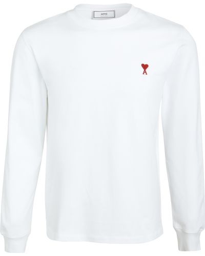 Biała koszula bawełniana z długimi rękawami Ami