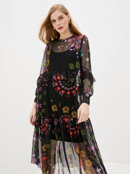 Вечернее платье черное весеннее Desigual
