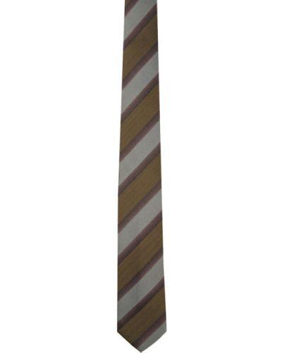 Fioletowy krawat w paski z jedwabiu Dries Van Noten