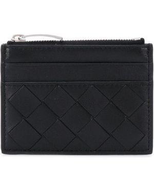 Кожаный кошелек черный ровный Bottega Veneta