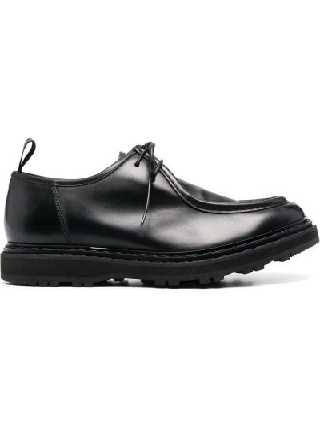 Skórzany czarny buty obcasy na pięcie zasznurować Officine Creative