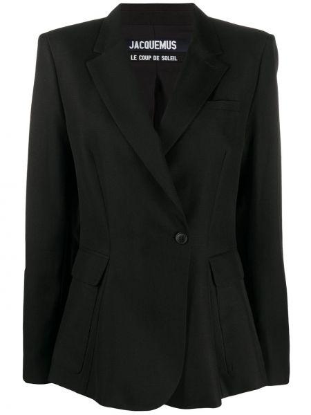 Хлопковый черный пиджак на пуговицах с лацканами Jacquemus