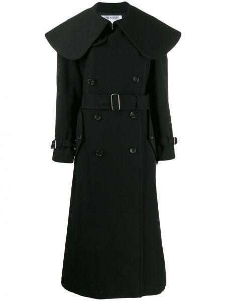 Черное длинное пальто оверсайз с капюшоном Comme Des Garçons Comme Des Garçons