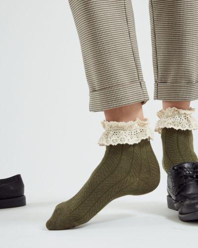 Трикотажные зеленые ажурные спортивные носки Ksox