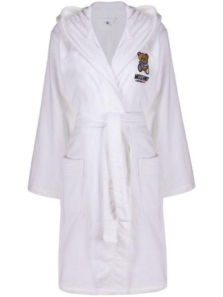 Белый халат с вышивкой с капюшоном Moschino