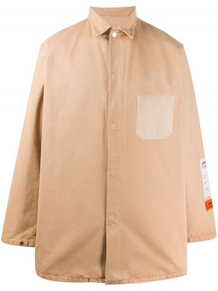 Brązowa klasyczna koszula bawełniana z długimi rękawami Heron Preston