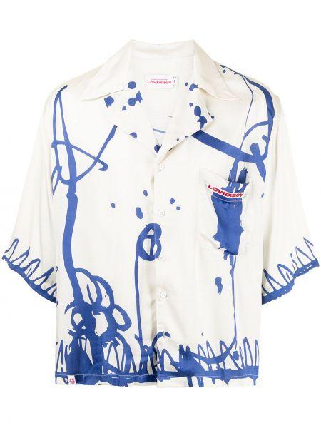 Biała biała koszula z printem Charles Jeffrey Loverboy
